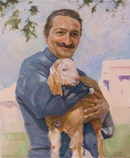 Blue Bus Tour Meher Baba Holding Nubien Goat Alwar, Rajasthan February 8 1939