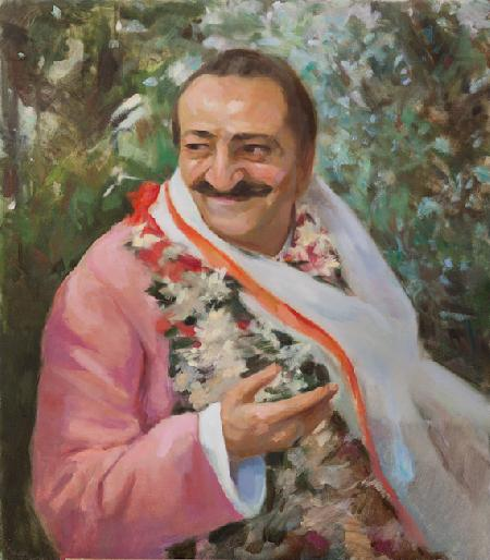 Meher Baba In The Garden Wearing Scarf, 1954