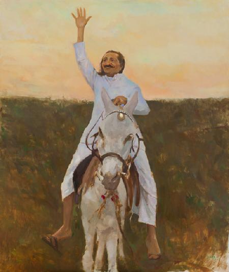 Meher Baba with Pet Donkey Champa Meherabad Hill, July 1936